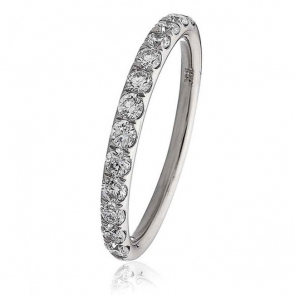 Diamond Half Eternity Ring 0.45ct in 18k White Gold