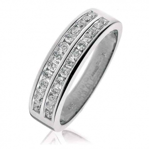 Diamond Half Eternity Ring 0.50ct, 18k White Gold