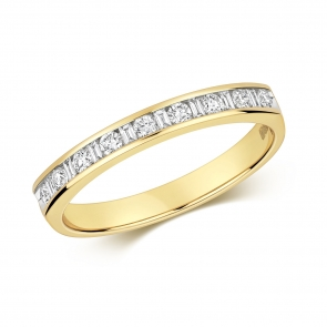Diamond Half Eternity Ring Round & Baguettes 0.27ct, 9k Gold