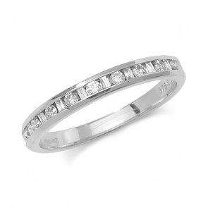Diamond Half Eternity Ring Round & Baguettes 0.53ct, 9k White Gold