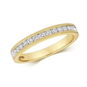 Diamond Half Eternity Ring With Milgrain 0.28ct. 9k Gold