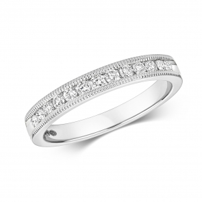 Diamond Half Eternity Ring With Milgrain 0.28ct. 9k White Gold