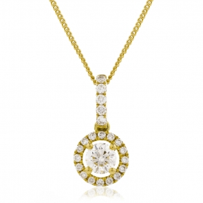 Diamond Halo Pendant Necklace 0.65ct, 18k Gold