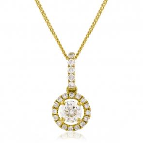 Diamond Halo Pendant Necklace 0.60ct, 18k Gold