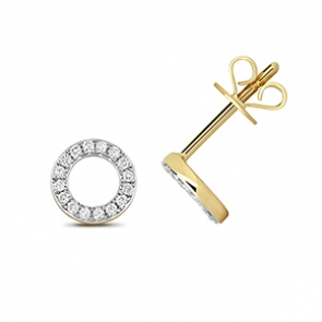Diamond Halo Stud Earrings 0.12ct, 9k Gold