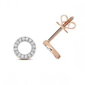 Diamond Halo Stud Earrings 0.12ct, 9k Rose Gold