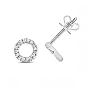 Diamond Halo Stud Earrings 0.12ct, 9k White Gold