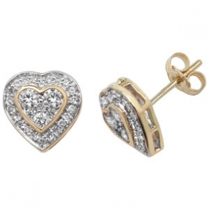 Diamond Heart Earrings 0.50ct, 9k Gold