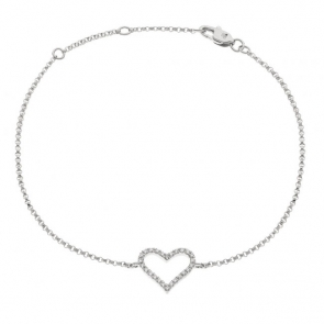 Diamond Heart Pendant Bracelet 0.10ct, 18k White Gold