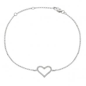 Diamond Heart Pendant Bracelet 0.10ct, 18k White Gold