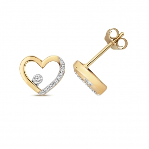 Diamond Heart Stud Earrings 0.08ct. 9k Gold