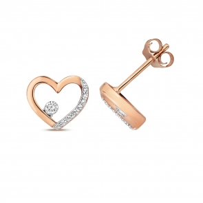 Diamond Heart Stud Earrings 0.08ct. 9k Rose Gold