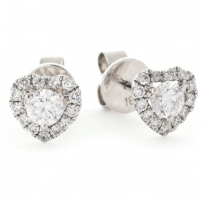 Diamond Heart Stud Earrings 0.60ct, 18k White Gold