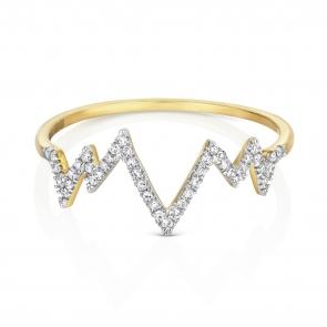 Diamond Heartbeat Half Eternity Ring 0.09ct. 9k Gold