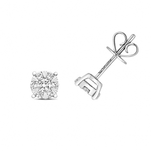 Diamond Illusion Set Earrings 0.32ct, 18k White Gold