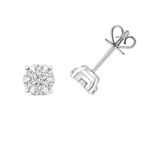 Diamond Illusion Set Earrings 0.50ct, 18k White Gold