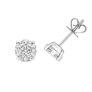 Diamond Illusion Set Earrings 0.66ct, 18k White Gold