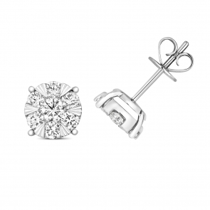 Diamond Illusion Set Earrings 1.00ct, 18k White Gold