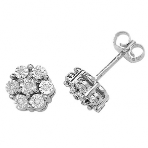 Diamond Illusion Set Stud Earrings 0.08ct, 9k White Gold