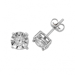 Diamond Illusion Set Stud Earrings 0.31ct, 9k White Gold