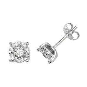 Diamond Illusion Set Stud Earrings 0.60ct, 9k White Gold