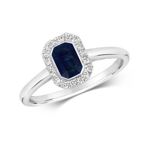 Diamond & Octagon Cut Sapphire Ring 0.79ct, 9k White Gold