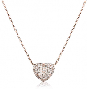 Diamond Pave Heart Necklace, 18k Rose Gold