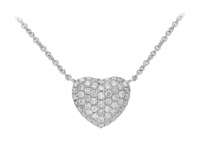 Diamond Pave Heart Necklace, 18k White Gold