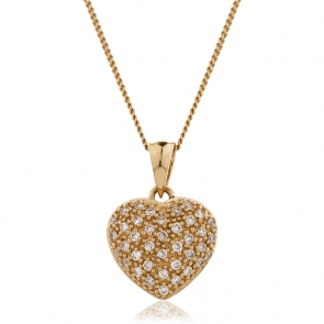 Diamond Pavé Heart Pendant 0.20ct, 9k Rose Gold