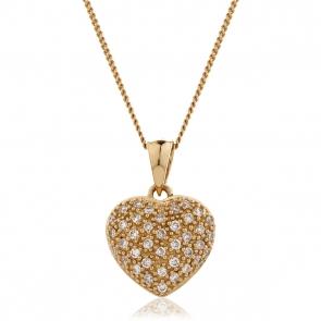 Diamond Pavé Heart Pendant 0.20ct, 9k Rose Gold