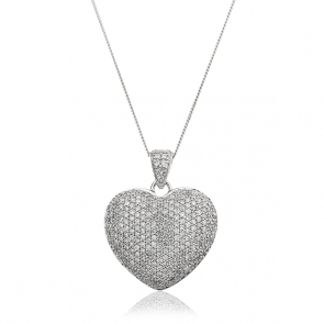 Diamond Pavé Heart Pendant 1.00ct, 9k White Gold