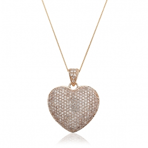 Diamond Pavé Heart Pendant 1.00ct, 9k Rose Gold