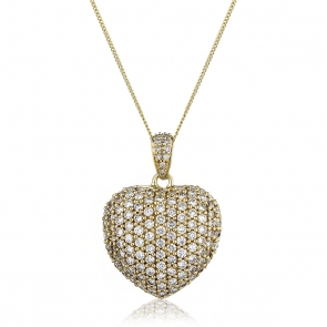 Diamond Pavé Heart Pendant 1.45ct, 18k Gold