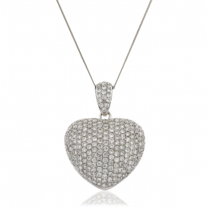 Diamond Pavé Heart Pendant 3.10ct, 18k White Gold