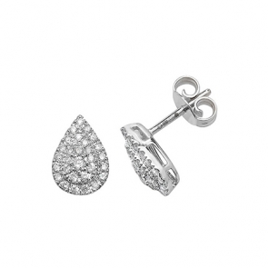 Diamond Pavé Pear Shape Earrings 0.37ct, White Gold