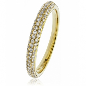 Diamond Pave Set Half Eternity Ring 0.40ct, 18k Gold