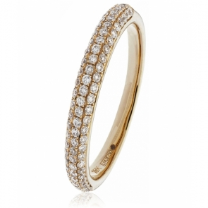 Diamond Pave Set Half Eternity Ring 0.40ct, 18k Rose Gold