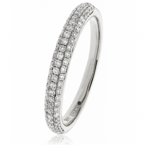 Diamond Pave Set Half Eternity Ring 0.40ct, Platinum