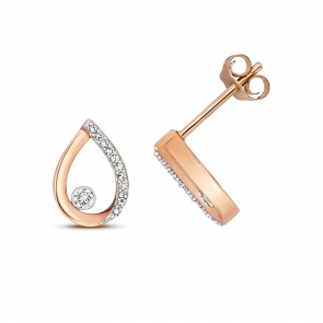 Diamond Pear Stud Earrings 0.09ct. 9k Rose Gold