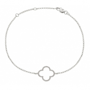 Diamond Pendant Bracelet 0.15ct, 18k White Gold
