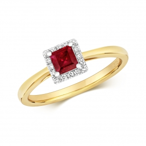 Diamond & Princess Cut Ruby Ring 0.64ct, 9k Gold