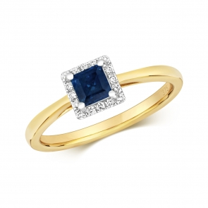 Diamond & Princess Cut Sapphire Ring 0.55ct, 9k Gold