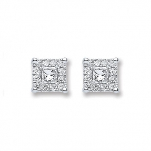 Diamond Princess Stud Earrings 0.25ct, 18k White Gold