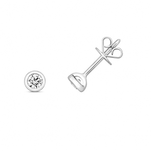 Diamond Rubover Studs 0.20ct, 18k White Gold