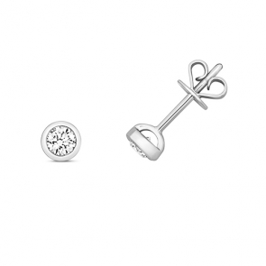 Diamond Rubover Studs 0.30ct, 18k White Gold