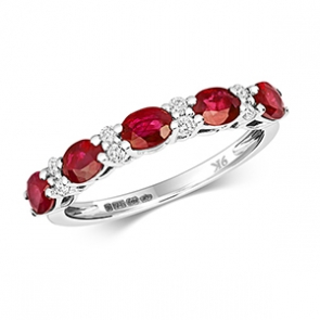 Diamond & Ruby 13 stone ring, 1.35ct, 9k White Gold
