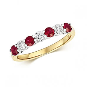 Diamond & Ruby 7 stone ring, 0.81ct, 9k Gold