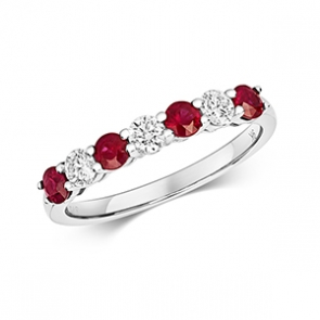 Diamond & Ruby 7 stone ring, 0.81ct, 9k White Gold