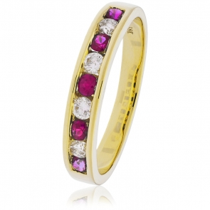 Diamond & Ruby 9 Stone Half Eternity Ring 0.50ct, 18k Gold