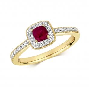 Diamond & Ruby Cushion Ring 0.60ct, 9k Gold